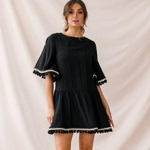 NWT Selfie Leslie Black Drop Waist Tassel Dress M